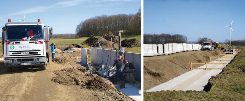 Bau von Grundwassermessstellen im Bereich eines Sickerschlitzgrabens